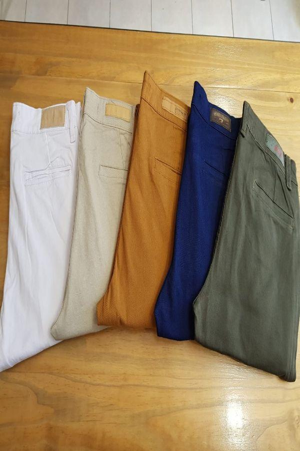 Pantalones De Gabardina De Color Corte De Vestir
